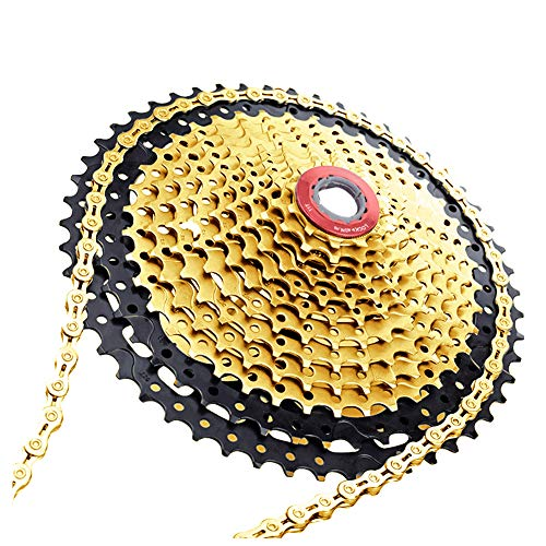 MoreChioce - Cadena bicicleta 8/9/10/11 velocidades, diseño pérdida peso 116 cadenas ciclismo bicicleta montaña, dorado, tamaño 10 Velocidades, 25.00 x 13.00 x 5.00centimeters