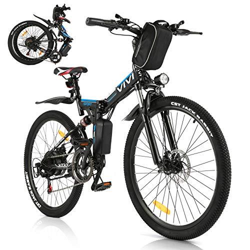 Vivi Bicicleta Eléctrica Plegable, 250 W Motor para Bicicleta De Montaña Eléctrica para Adultos, 26 Pulgadas E-Bike, Engranaje De 21 Velocidad De Batería Extraíble de 36V 8Ah