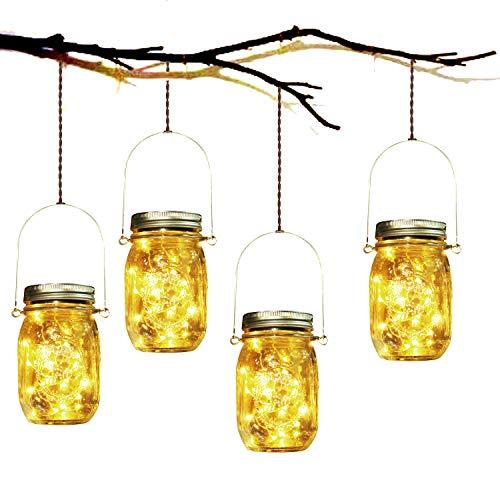 Lámpara de Decoración Solar - 4 Piezes Lámpara Solar Mason Jar Set Lámpara Ahorro de Energía e...*