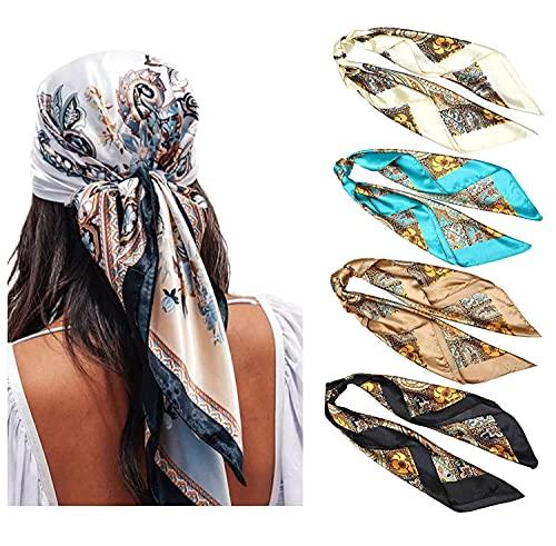 WELROG 4 Pack Pañuelos Cabeza Mujer - 90 * 90 cm Bandanas Grandes Pañuelos Cuadrados como seda...*