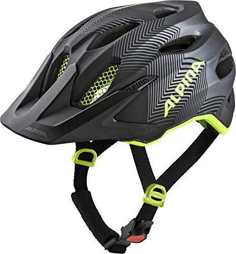 Alpina Carapax JR. Casco de Ciclismo, Unisex-Youth, Black-Neon Yellow, 51-56