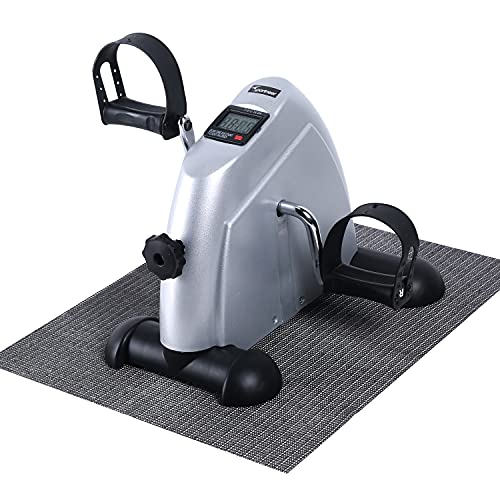 Sportneer Under Desk Bike Mini bicicleta de ejercicios de ciclo de pedal portátil con monitor digital y alfombra antideslizante, resistencia ajustable, Plata
