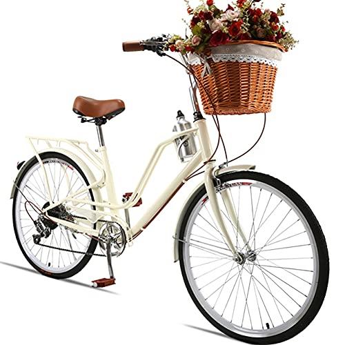 SHANJ Bicicleta de Crucero de Playa para Mujer de 24 Pulgadas,Bicicleta de Viajero de Ciudad de Estilo Vintage,7 velocidades,Blanco,Azul,Rojo