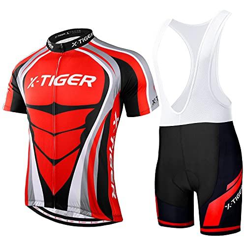 X-TIGER Hombres de Bicicleta con 5D Gel Acolchado MTB Ciclismo Tirantes Culotte Pantalones Cortos...*