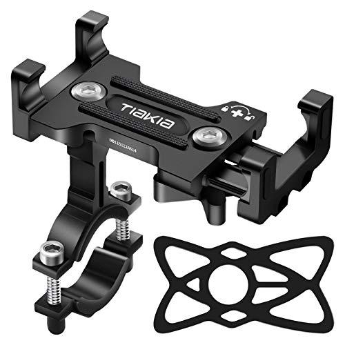 Soporte Movil Bicicleta, Tiakia Soporte Movil Moto con Rotación 360°, Soporte para Teléfono de Bicicleta de Aleación de Aluminio, Soporte Movil Bici Universal para 4,7-7,2' Smartphones, (Negro)