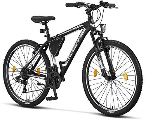 Licorne Bike Bicicleta de montaña prémium para niños, niñas, hombres y mujeres, cambio de 21 velocidades, para hombre, Effect, Niñas, Blanco y negro (freno en V)., 27.5 inches