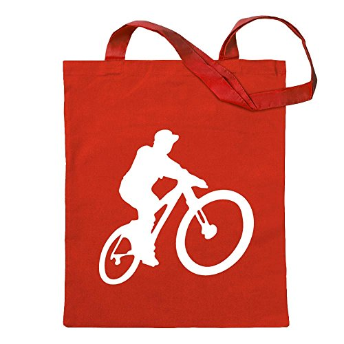 Kiwistar Mountainbiker MTB en descenso bolsa de yute - Proverbios impresos que cubren modelos Bolsa de fitness en forma de bolsa de algodón colgada en un mango largo Rojo Size: 30cm