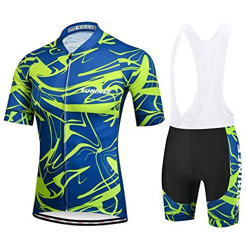 SUHINFE Ropa Ciclismo Hombre Verano, Transpirable y de Secado rápido Maillot Ciclismo y Pculotte Ciclismo con 5D Gel Pad para Bicicleta de Carretera y MTB