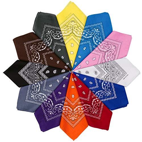 HBselect 12 Piezas Unisex Bandana Cabeza Hombre Pañuelos Cuello Mujer Multicolor Pañuelos Hombre Cuello Pañuelo Deportivo