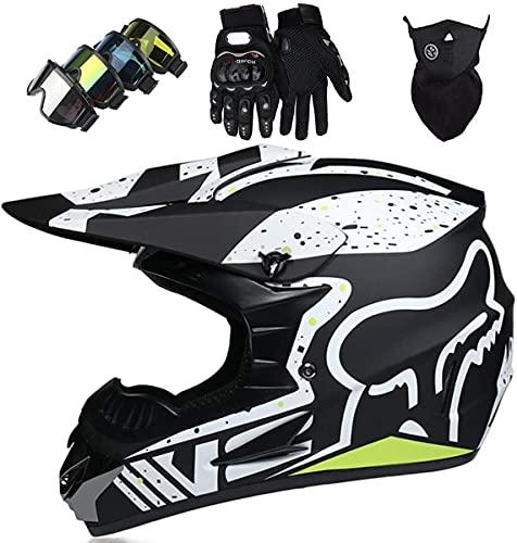 XYYMC Casco de Moto de Motocross de Integrales para Niños y Adultos Gafas + Guantes + Máscara para Scooter Eléctrico Dirt Bike MTB MX ATV con Diseño Fox - Homologado Dot, Negro Mate (M)