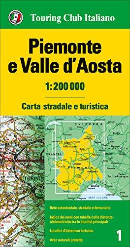 Piamonte y Valle de Aosta 1:200.000 mapa de carreteras impermeable. Touring Club Italiano. (Carte regionali 1:200.000)