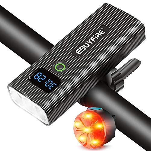 EBUYFIRE Luz Bicicleta Recargable USB,Luces LED Bicicleta Delantera y Trasera,5 Modos,5200 mAh Luz Bicicleta Potente Delantera con Pantalla Digital LED para Todas Las Bicicleta (2400lumen)