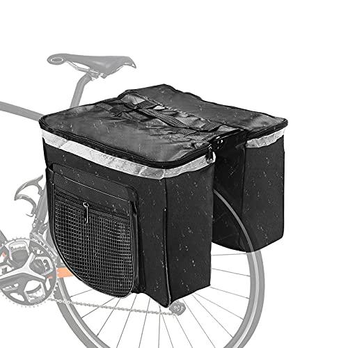 Gohytal Bolsa Trasera para Bicicleta Multifuncional Doble Alforja Gran Capacidad Impermeable Bolsa Portaequipajes, Asiento Trasero Bolsa de Bicicleta para Ciclismo Diario Camping y Al Aire Libre, 25L