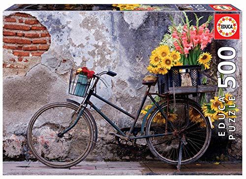 Educa Borras - Genuine Puzzles, Puzzle 500 piezas, Bicicleta con flores (17988)