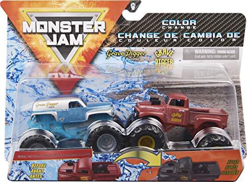 Monster Jam Official Grave Digger Colour-Changing Die-Cast Monster Trucks, Scale Oficial vs. Excavadora de tumbas (1982 Retro) Camiones Monstruos fundidos a presión, Escala 1:64 (Spin Master 6058835)