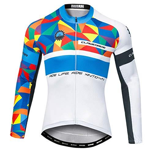 Panegy Camieta Ciclisma Manga Larga Hombre Maillot Ciclismo con Cremallera Elástico Cómodo Jerseys de Bicicleta MTB Blanco-Azul L