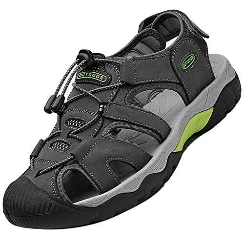 Topwolve Sandalias Deportivas para Hombre Verano Exterior Senderismo Zapatos Transpirable Peso Ligero Cuero Sandalias de Playa Trekking Casual Antideslizantes Zapatos de Montaña,Gris,44 EU