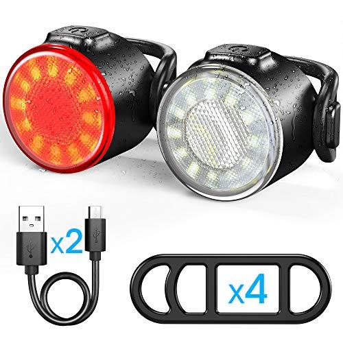 Luces Bicicleta, Luces Delanteras y Traseras Recargables USB Para Bicicleta, Impermeable LED Luz...*