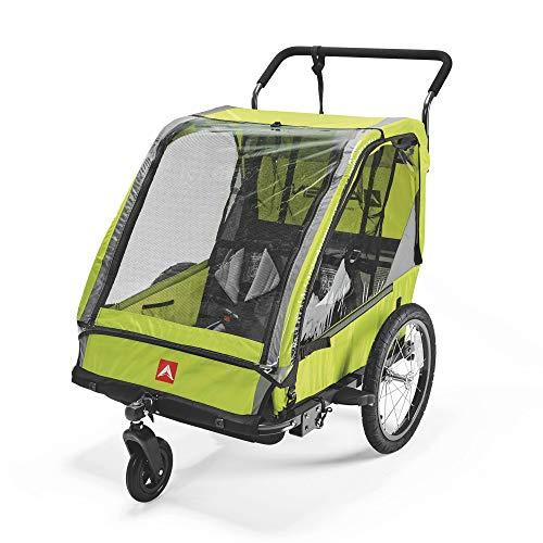 Allen Sports ES2-R, Remolque de bicicleta para 2 niños, unisex, adulto, verde, 2 niños*