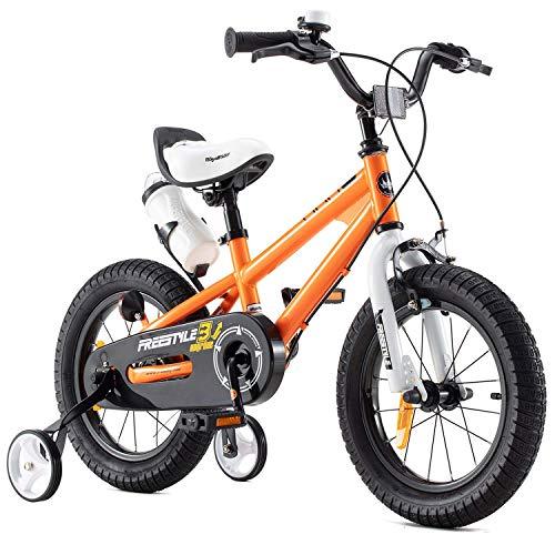 RoyalBaby Bicicletas Infantiles niña niño Freestyle BMX Ruedas auxiliares Bicicleta para niños 16 Pulgadas Naranja