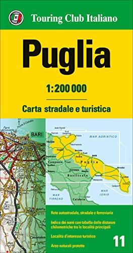 Apulia 1:200.000 mapa de carreteras impermeable Touring Club Italiano. (Carte regionali 1:200.000)
