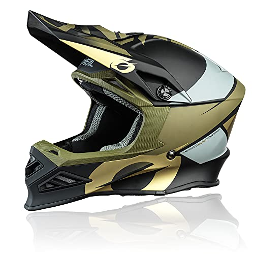 O'NEAL   Casco de Motocross   MX Enduro Motocicleta   Airflaps™ Compatible, Forro Acolchado Coolmax, Cierre de Seguridad Doble-D   F-SRS Helmet Glitch   Adultos   Negro Bronze   Talla L