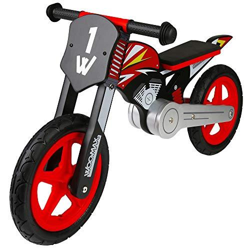 WOOMAX - Bicicleta sin pedales de madera, 90x37x50 cm, moto madera, bicicleta iniciación, niños 2 años, bici niños, máx 25 Kg, rojo y negro, de 2 a 5 años (85368)