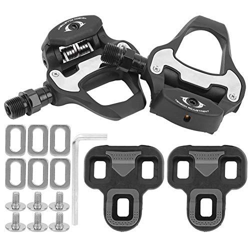 Dilwe Pedal de autobloqueo para Bicicleta, Kit de combinación de Equipo de Ciclismo de Pedal de Bicicleta de Carretera Antideslizante de aleación de Aluminio