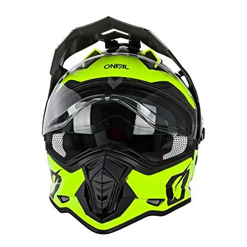 O'NEAL   Casco de Moto   Moto Enduro   Aberturas de ventilación para un máximo Flujo de Aire y refrigeración Visera Solar integrada   Casco Sierra R   Adultos   Negro Amarillo Neón   Talla M
