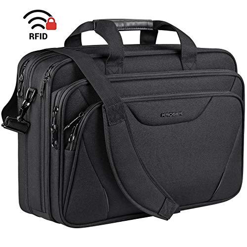 KROSER 18' Bandolera para Portátil Maletín Premium para Laptop hasta 17.3' Expandible Hidrófugo Bolsa del Hombro Bolsa de Computadora para Viajes/Negocios/Escuela/Hombres/Mujeres-Negro