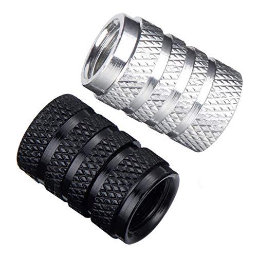 8X Tapones Deportivos Ligeros para la Rueda del Coche, Moto, Bicicleta o patín, en Aluminio Texturizado con Anillo de Sellado. (Negro y Plata)