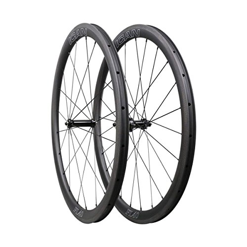 ICAN 40mm Ruedas de Carbono Remachador Tubeless Listo Bici Carretera Ruedas 20/24 Agujeros Shimano 10/11 V