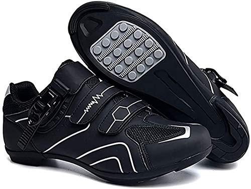 Zapatillas De Ciclismo Zapatillas De Bicicleta De Carretera Y Montaña De Fibra De Carbono Antideslizantes Y Transpirables, Zapatillas De Deporte A Rayas Reflectantes (42,Gris)