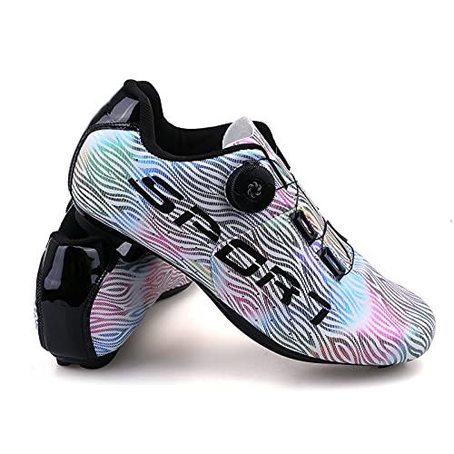 Hombre Zapatillas de Ciclismo Luminiscente Zapatillas de Bicicleta de Carretera de Parejas Moda Antideslizantes Transpirables de Carretera con Hebilla de Giro Rápido y Caja de Zapatos Blanco 41