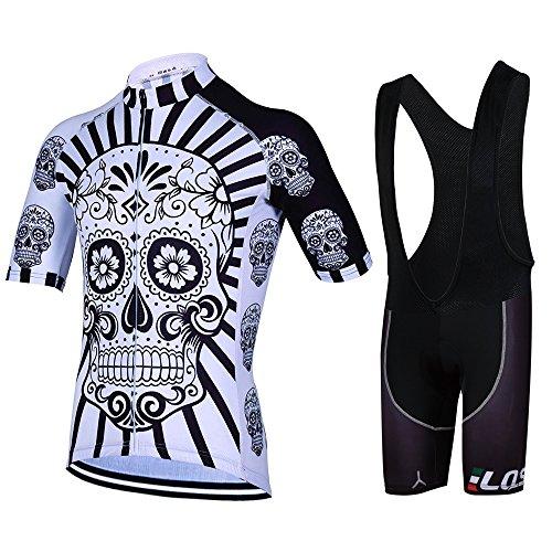Feilaxleer Ropa Ciclismo Verano para Hombre y Mujer - Un Conjunto de Ciclismo Jersey Maillot y Culotte Pantalones Cortos (CR,M)