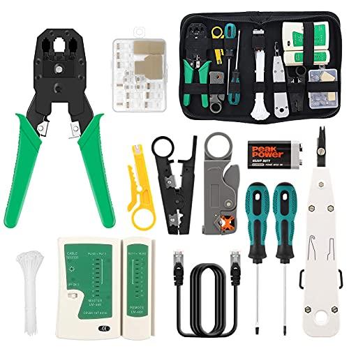 16 en 1 Herramientas de Reparación de Red Juego de Comprobador de Cables de Red Kit de...*