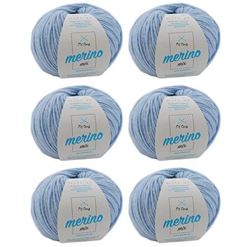 MyOma Merino 82677 - Juego de 6 ovillos de lana merino azul claro, mezcla de lana merino + etiqueta gratuita, 50 g/120 m, lana suave