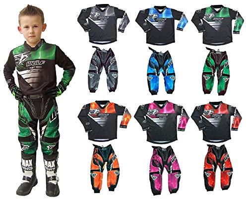 Motorbike Wulf Forte MX Kids Race Suit New 2020 Motocross Quad Off Road Trials Enduro Kart ATV MTB Dirt Bike Pit Sport Junior Pant Shirt Kit (Blue,5-7 Years with Waist 24)