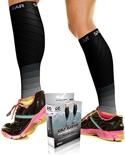 Physix Gear Sport Medias compresión hombre y mujer, las mejores pantorrilleras running para mejorar la circulación, perneras ciclismo para recuperar los músculos, 1 par, L/XL, negro/gris