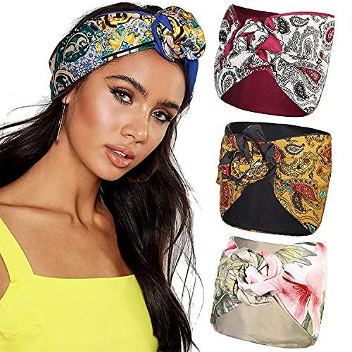 Diadema ancha con turbante - WELROD Diadema de alambre floral de 3 piezas Banda para el cabello...*
