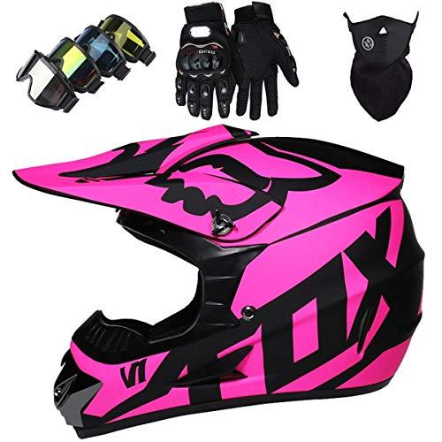 Casco de Moto, Casco de Motocross para Niños y Adultos con Gafas Descenso, Casco de MTB de...*