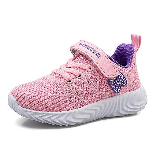 Zapatillas de Deporte Niños Niña Zapatos de Gimnasia Niñas Pequeñas Running Zapatos Deportivos Trainers Kids(35 EU/Tamaño de la Etiqueta 36,Rosa 2)