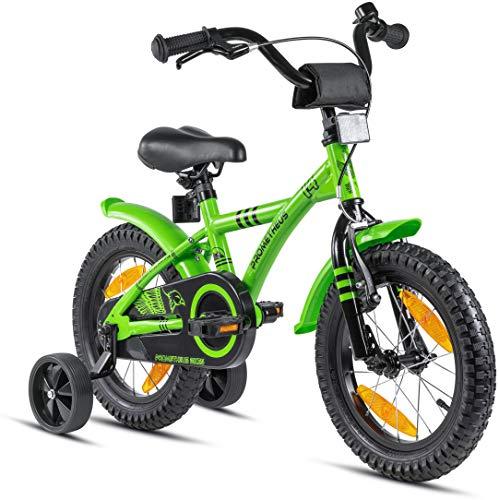 Prometheus Bicicleta para niños de 3 a 5 años   Bicicleta Infantil 4 años para niñas 14 Pulgadas con ruedines en Verde y Negro