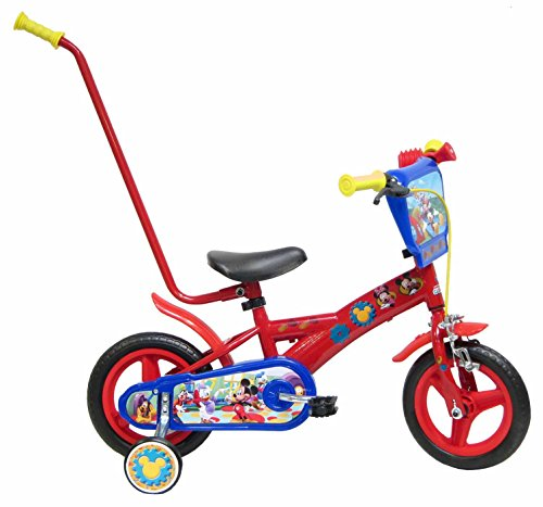 Bicicleta Niño Mickey Mouse con Barra de Aprendizaje 10 pulg Rojo*