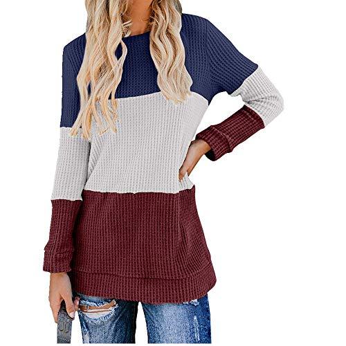 U/A Cuello redondo en contraste con jersey y suéter suelto para mujer.