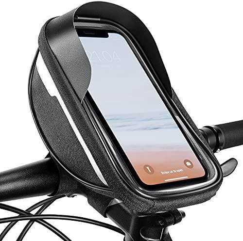 Bolsa Manillar con Bici Impermeable Soporte para Teléfono Móvil - Bolsa Marco Bicicleta para teléfono inteligente de 6.5 pulgadas, Accesorios para bicicleta con pantalla táctil sensible de TPU