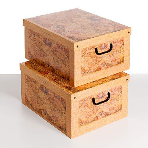 SET DE DOS Cajas de almacenamiento en cartón, tamaño grande, 2 unidades, modelo MARCO POLO
