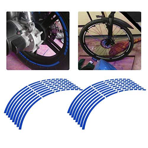 llanta 17 moto-16 Uds cinta reflectante para llanta de rueda, cinta adhesiva para bicicleta, motocicleta, 16-18 pulgadas, pegatinas reflectantes para tira de rueda, accesorio de decoración(azul)