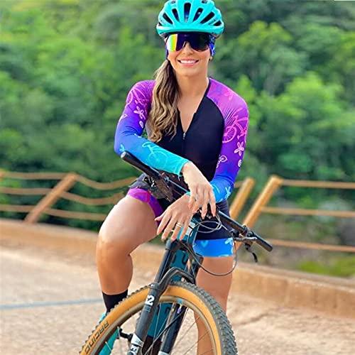 Triatlón para mujer Jersey de manga larga, triatlón de mujer traje de una sola pieza con almohadilla de gel (Color : 5, Size : Small)