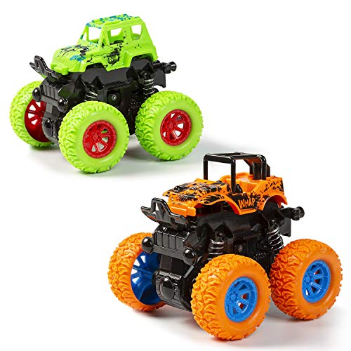 MOOKLIN ROAM 2pcs Niños Camión Monstruo, Inercia Vehiculo Todoterreno Juguete, Autos de Carreras con Rotación de 360 Grados Coches de Juguetes Regalo para Boys Girls 3+ años
